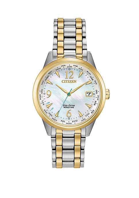 2 Tone Stainless Steel Case World Time Watch With Mother Of Pearl Dial