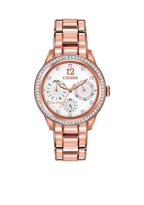 Citizen Womens Eco-Drive Pink Gold-Tone Stainless Steel Swarovski