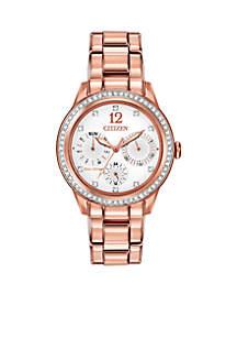Women's Eco-Drive Pink Gold-Tone Stainless Steel Swarovski Watch
