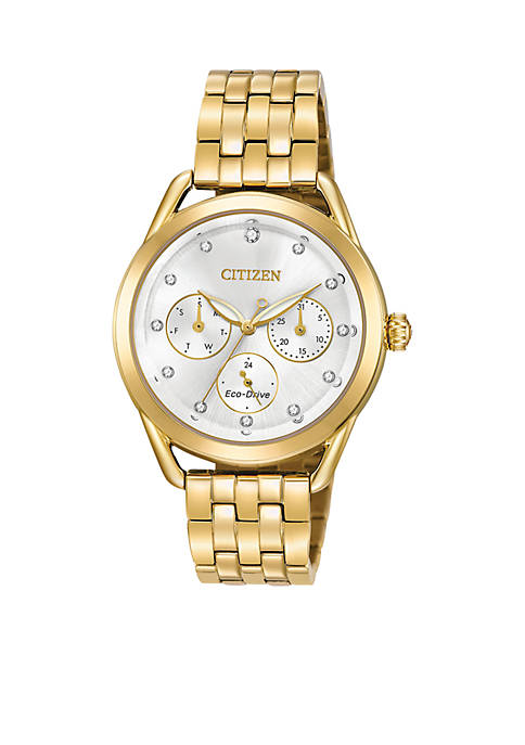 Womens Drive From Citizen Eco-Drive Stainless Steel Watch with Date and Gold-Tone Stainless Steel Bracelet
