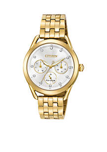 Women's Drive From Citizen Eco-Drive Stainless Steel Watch with Date and Gold-Tone Stainless Steel Bracelet