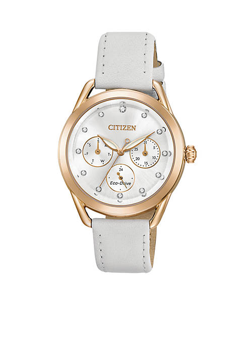 Citizen Ladies Eco-Drive White Leather Watch