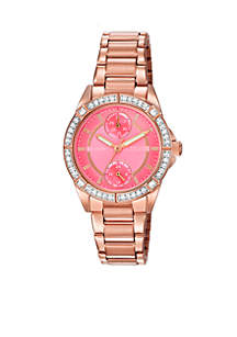 Pink Gold-Tone Stainless Steel Coral Dial Watch