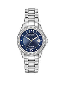 Women's Stainless Steel Eco-Drive Swarovski Crystal-Accented Bracelet Watch