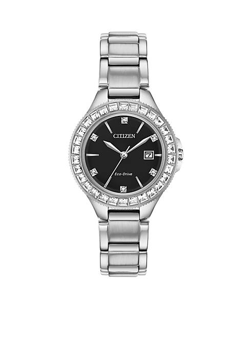 Stainless Steel Eco-Drive Silhouette Crystal Bracelet Watch
