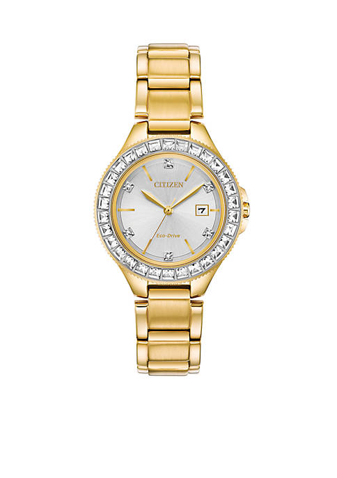 Citizen Womens Gold-Tone Stainless Steel Eco-Drive Crystal