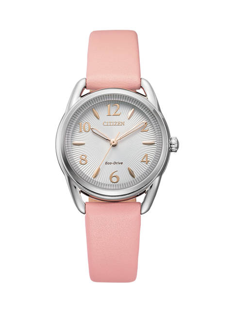 Citizen Womens Drive Pink Leather Strap Watch