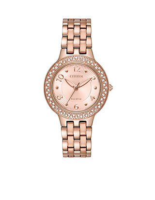 d7fa218cc3e7a8 Citizen Womens Pink Gold-Tone Stainless Steel Eco-Drive Bracelet Watch