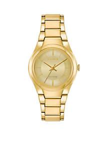 Women's Gold Stainless Steel Eco Drive Bracelet Watch