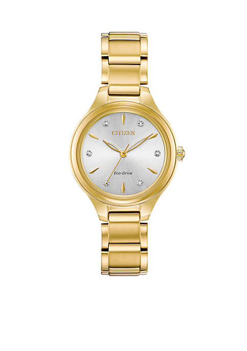 Citizen Gold-Tone Stainless Steel Eco-Drive Corso Bracelet Watch