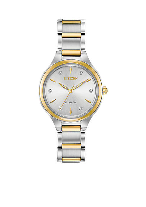 Citizen Two-Tone Stainless Steel Eco-Drive Corso Diamond-Accent