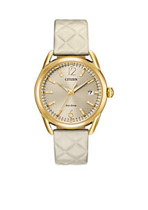 Women's Gold-Tone Stainless Steel Eco-Drive Leather Watch With Date