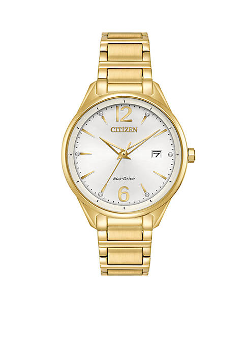 Citizen Womens Eco-Drive Gold-Tone Stainless Steel Bracelet Watch