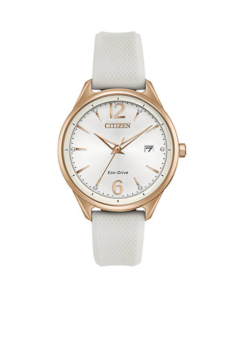 Citizen Womens Eco-Drive Stainless Steel White Silicon Watch