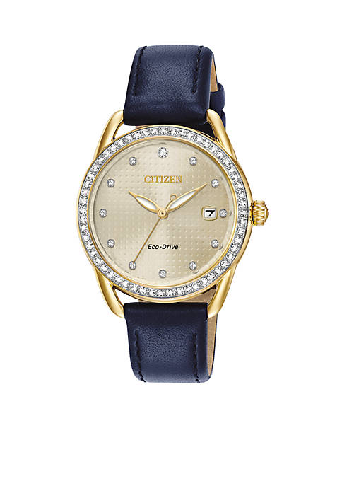 Citizen Ladies Drive Eco-Drive Navy Leather Watch