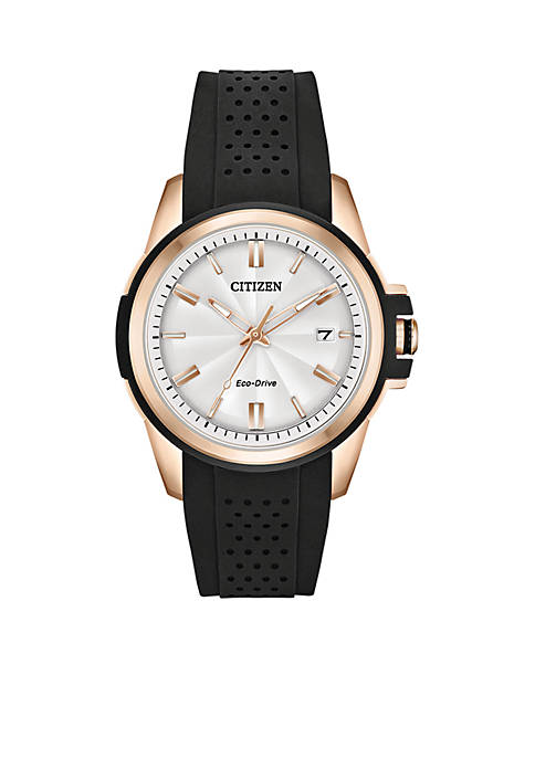 Citizen Womens Stainless Steel Eco-Drive Silicone Strap Watch