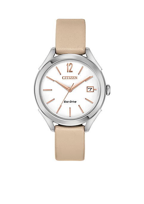 Citizen Womens Stainless Steel Eco-Drive Leather Strap Watch