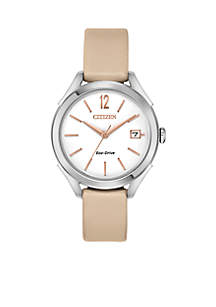 Women's Stainless Steel Eco-Drive Leather Strap Watch With Date