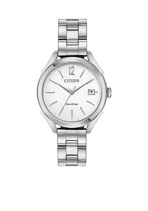 Eco-Drive Silver-Tone Stainless Steel Date Watch