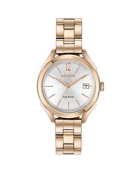 Citizen Womens Rose Gold-Tone Stainless Steel Eco-Drive Watch
