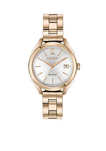 Women's Rose Gold-Tone Stainless Steel Eco-Drive Watch With Date