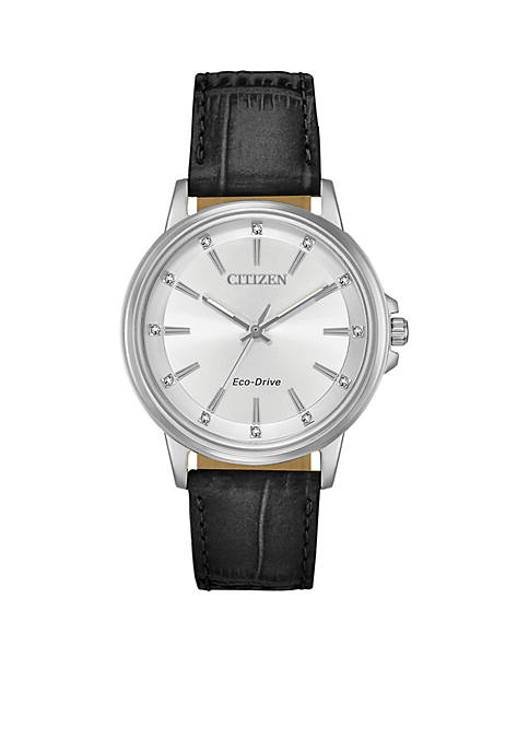 Citizen Womens Stainless Steel Eco-Drive Chandler Leather Strap