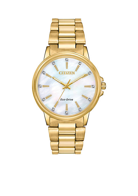 Citizen Womens Gold-Tone Stainless Steel Eco-Drive Chandler Watch
