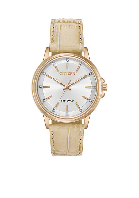 Citizen Womens Rose Gold-Tone Stainless Steel Eco-Drive Chandler