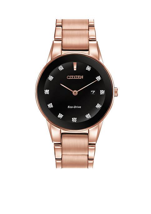 Citizen Eco-Drive Womens Rose Gold-Tone Axiom Watch
