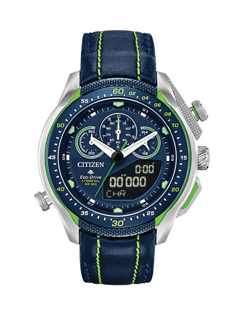 Citizen Promaster SST Mens Blue Leather Strap Watch