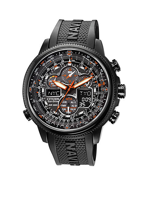 Citizen Eco-Drive Mens Navihawk A-T Chronograph Strap Watch