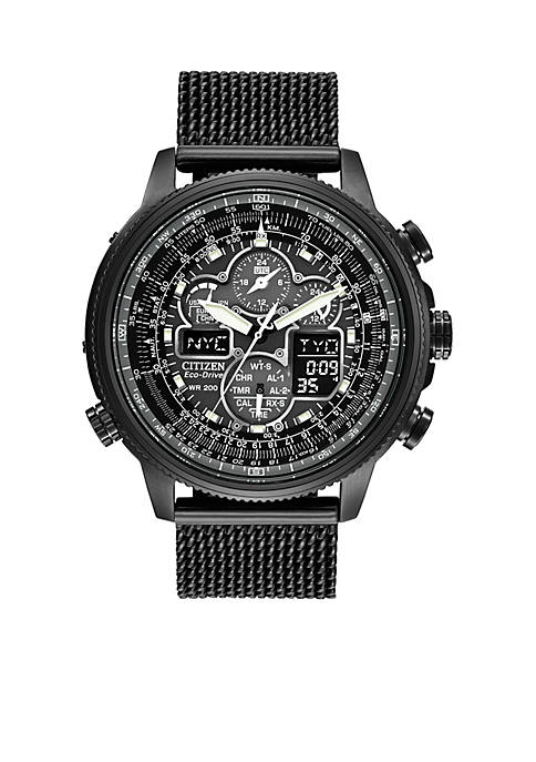 Citizen Mens Eco-Drive Navihawk A-T Black Ion Plated