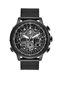 Men's Eco-Drive Navihawk A-T Black Ion Plated Stainless Steel Watch