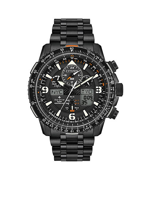 Citizen Mens Black Stainless Steel Analog-Digital Promaster