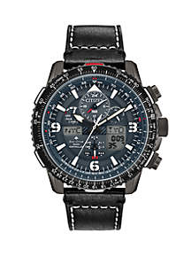 Citizen Eco Drive Promaster Skyhawk A T Black Leather Strap Gray Dial Watch