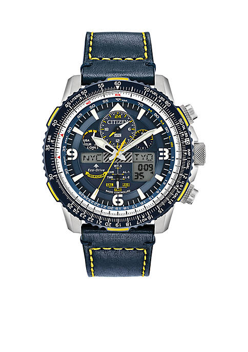 Mens Stainless Steel Eco-Drive Analog-Digital Chronograph Promaster Blue Angels Skyhawk A-T Blue Leather Strap Watch