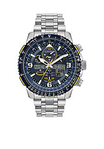 Citizen Men's Stainless Steel Eco-Drive Analog-Digital Promaster Blue Angels Skyhawk A-T Bracelet Watch