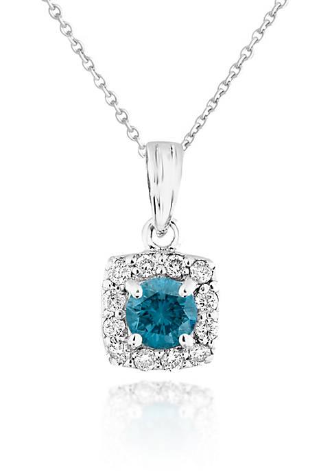 Blue and White Diamond Pendant in 14k White Gold