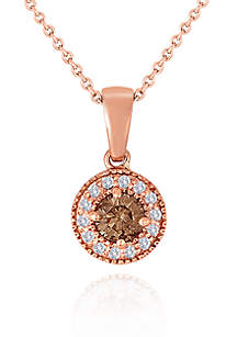 Brown and White Diamond Pendant in 14k Rose Gold