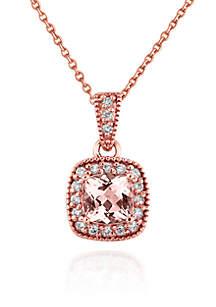 14k Rose Gold Morganite and Diamond Pendant