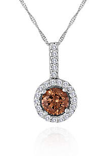 Brown and White Diamond Pendant in 14k White Gold