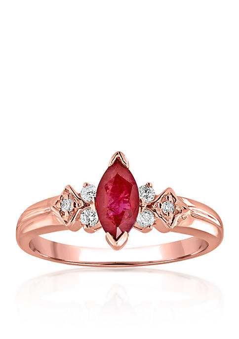 Belk & Co. 14k Rose Gold Ruby and