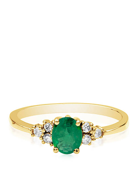 Belk & Co. 14k Yellow Gold Emerald and