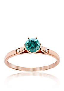 Blue and White Diamond Ring in 14k Rose Gold