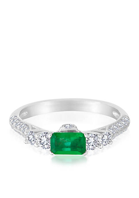 Belk & Co. 14k White Gold Emerald and