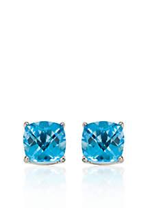 14k White Gold 6mm Blue Topaz Stud Earrings