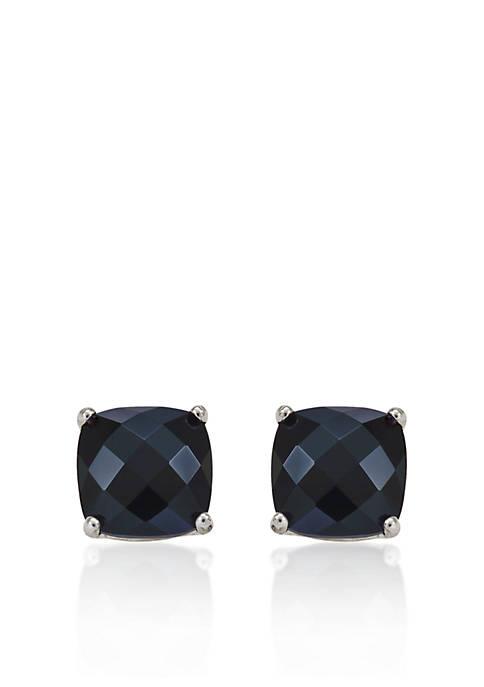 14k White Gold 6mm Onyx Stud Earrings