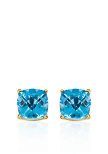 14k Yellow Gold 6mm Blue Topaz Stud Earrings