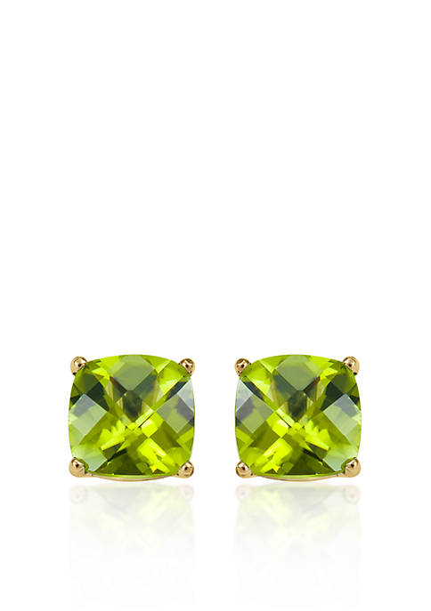 14k Yellow Gold 6mm Peridot Stud Earrings