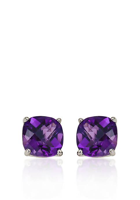 14k White Gold 8mm Amethyst Stud Earrings